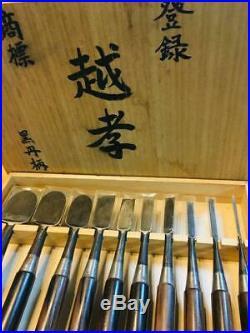 Japanese Carpenter Tool Oire Nomi 10 Wood Chisels Set Koshiko Vintage Ebony TRK
