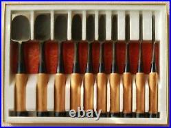 Japanese Vintage Chisel Oire Nomi Carpenter Tool 10 pcs set Jinsaku Woodworking