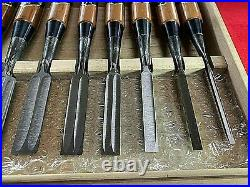 Japanese chisel Oire nomi Set of 10 3mm42mm Damascus(Mokume) Hanyu Yasushi F/S