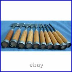 Masayoshi 10 Pcs Set Oire Japanese Vintage Carpentry Tool Chisel Nomi Box Unused