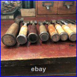 Vintage Chisels Japanese Lot of 14 Carpenter Professional Woodworking Oire Nomi